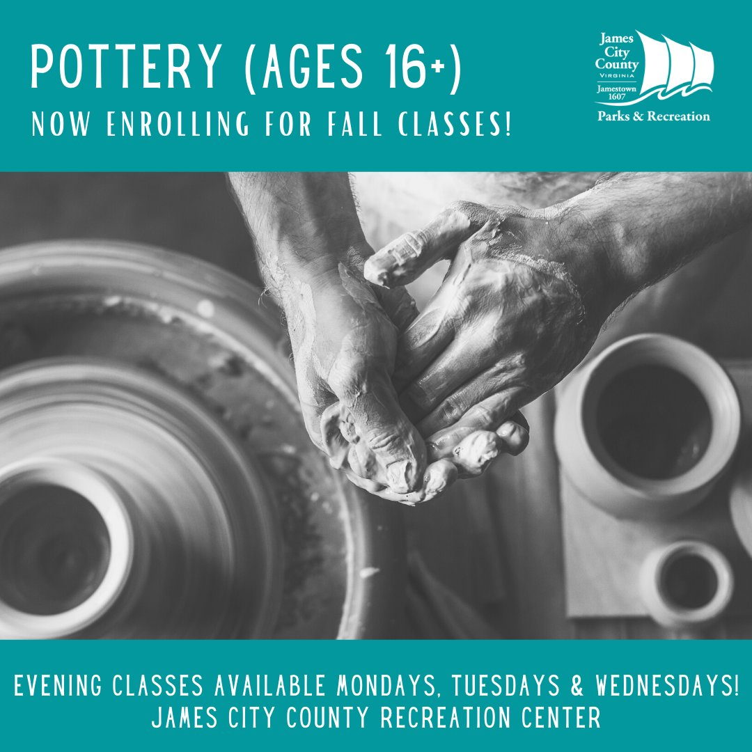 Pottery classes are available starting in September--for beginners to experienced students, ages 16 years & older! Hand-building, using the potter's wheel and sculpture techniques will be explored at JCC Recreation Center. Info: 757-259-4200,  #jccparksrec