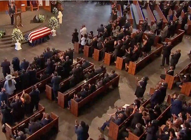 """Facebook gave me a """"false information"""" strike because I posted this picture of John Lewis's funeral and noted many attendees were not properly social distancing, seated shoulder to shoulder instead of six feet apart.  This is censorship and BULLSH!T @andymstone."""
