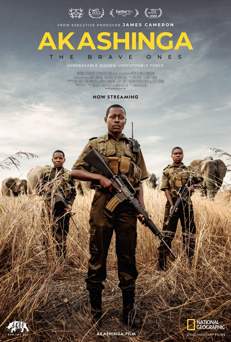 "Meet ""the brave ones"" - an all-female team of rangers in Zimbabwe and the last line of defense against poachers.  #Akashinga: The Brave Ones from @JimCameron streams for free on #WorldElephantDay Aug 12 at  @DamienMander @IAPF @natgeodocs"