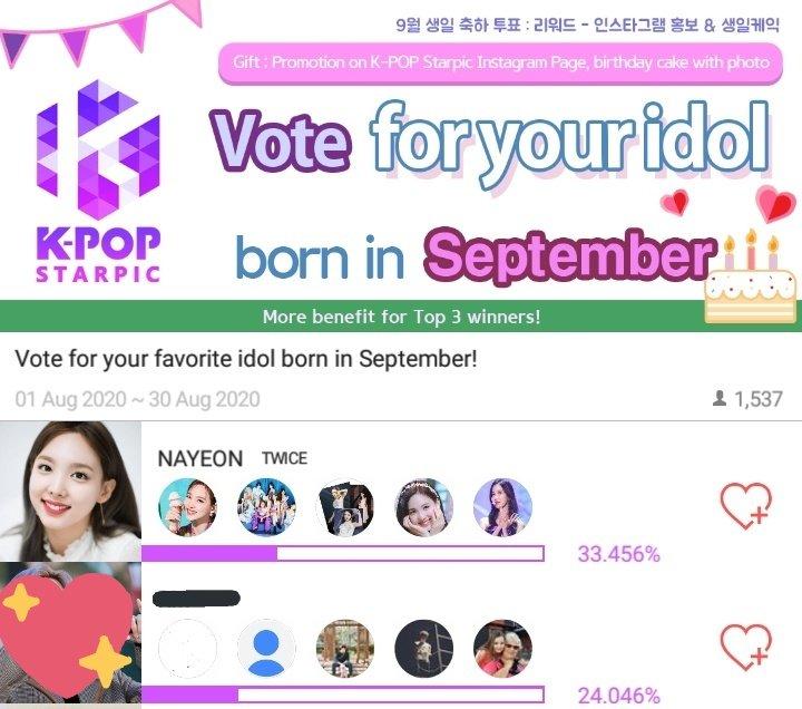 [🍭] A Nayeon está em 1⁰ lugar no evento de aniversário de Setembro, no aplicativo K-POP STARPIC, com mais de 9% de vantagem! 👏  Baixem o aplicativo pelo link para ganharem 1.000 corações, e a nossa fanbase também ganhará! 🔗    @JYPETWICE #NAYEON #TWICE