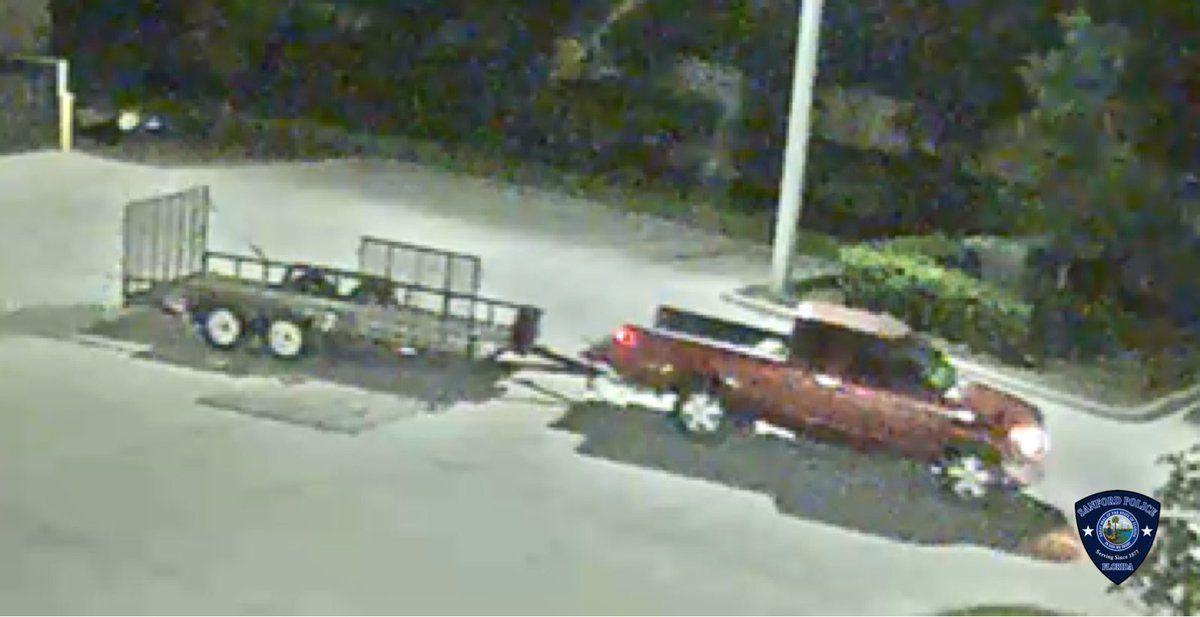 #CanYouIdentify  The truck or owner of the truck that was captured stealing a trailer on July 22, 2020? Anyone with information on this vehicle or its owner, please contact the Sanford Police Department. #TrailingTheSuspect #HitchARideToJail