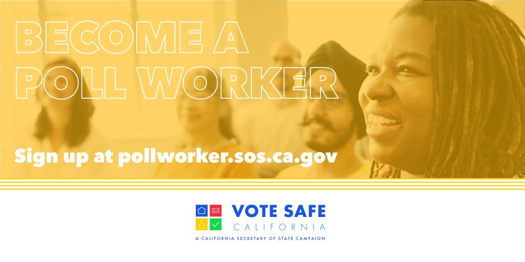 Poll workers needed! @VoteFresnoCo is depending on volunteers to conduct the General Election this November. Get involved in your community and get PAID for it! Sign up today at  #VoteSafeCA