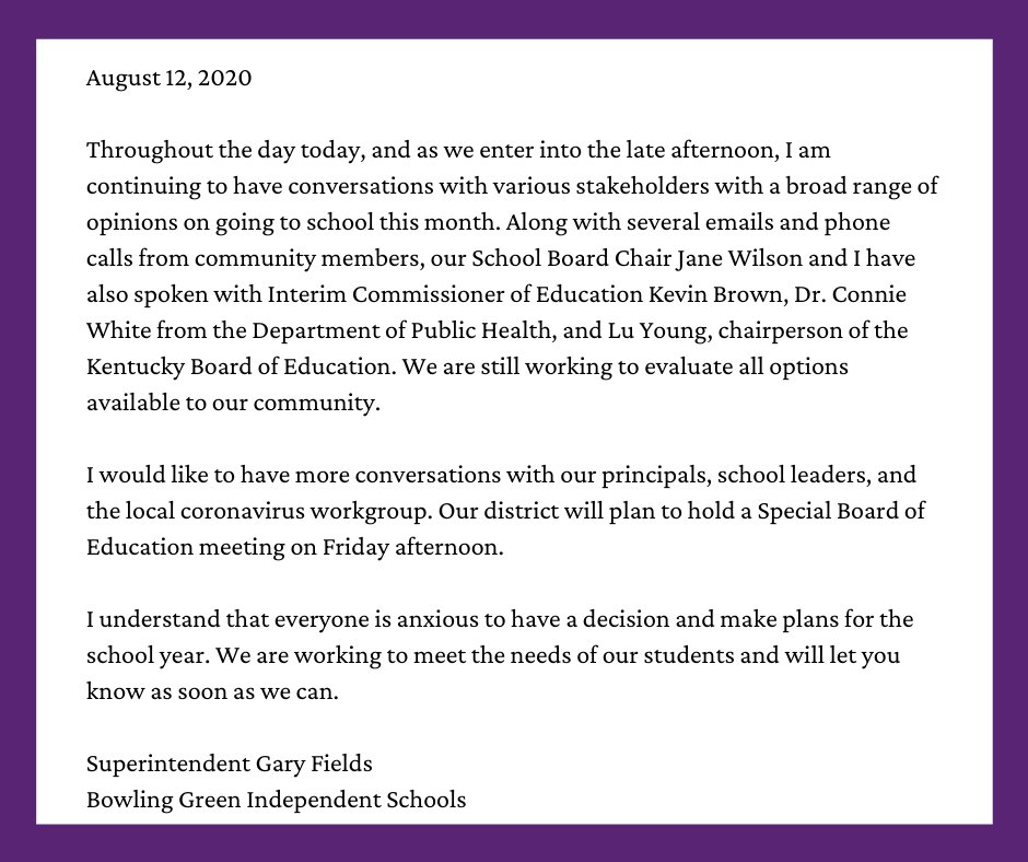 Below is a statement from Superintendent Gary Fields, August 12th, regarding the reopening of schools. @BGISDgaryfields
