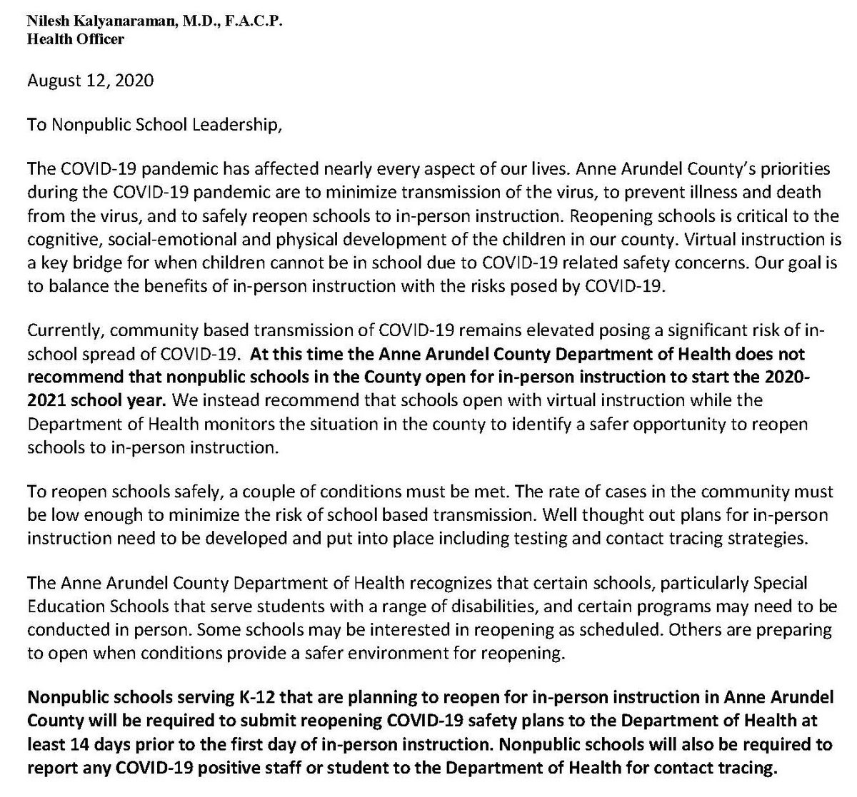 #AnneArundel Health Officer @nileshkal sends letter to #Nonpublic #SchoolLeaders concerning #BackToSchool Recommendations.  Read Entire Letter at  --  #COVID19 @AACountyGovt @CityofAnnapolis @AACountySchools