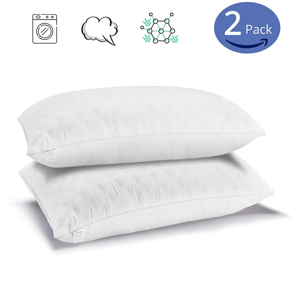 2 pack of King Size Pillows, $24!!  50% off with code; 50GUZHSX