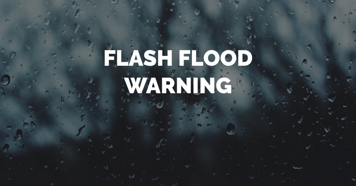 FLASH FLOOD WARNING until midnight. Thunderstorms producing heavy rain which will cause flooding. Around one inch of rain has fallen. #TurnAroundDontDrown when encountering flooded roads. Most flood deaths occur in vehicles.