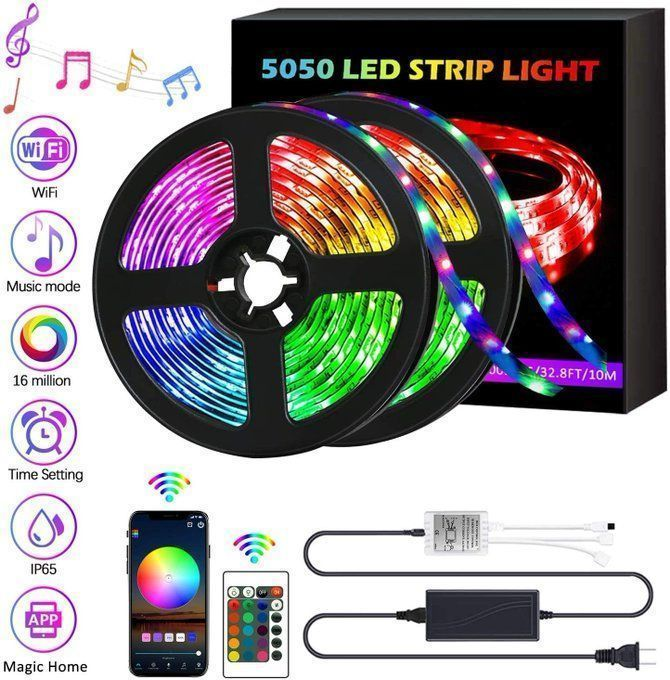 32.8ft LED Strip Lights, $19.49! - Music Sync and Phone App  Use promo code; YWQN655S