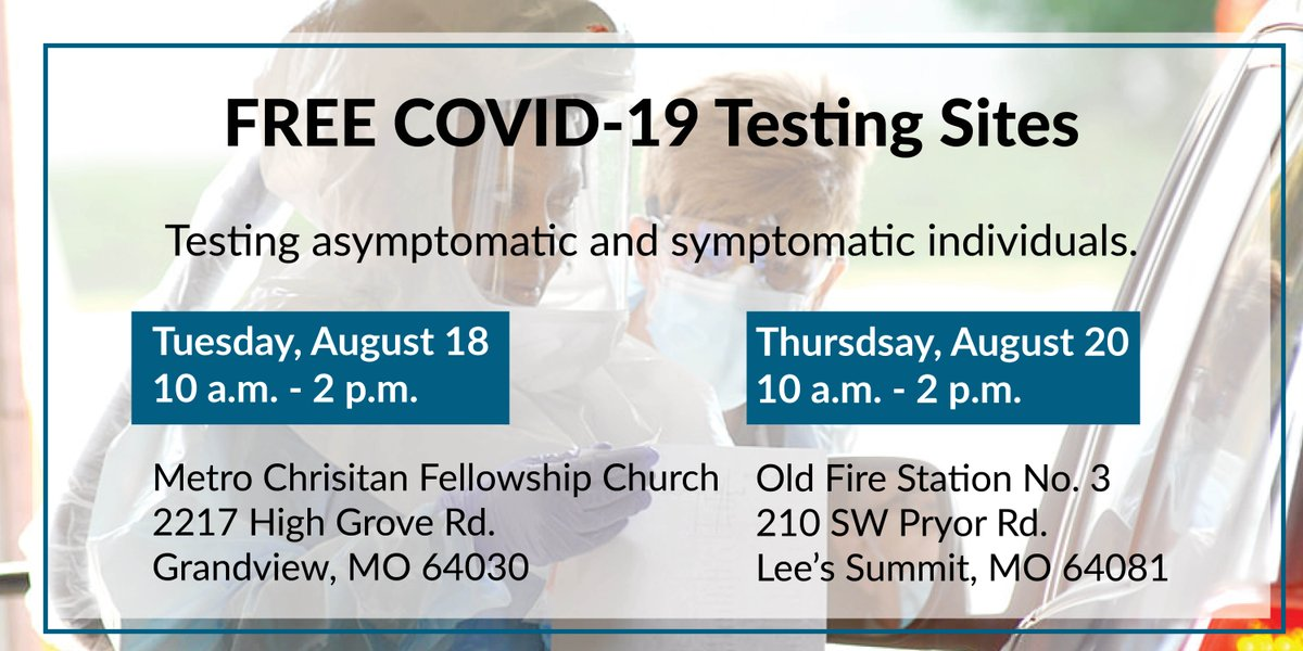 There are two free #COVID19testingsites next week. Individuals do not have to have symptoms to be tested. Register today. ⬇️  Grandview:  Lee's Summit: