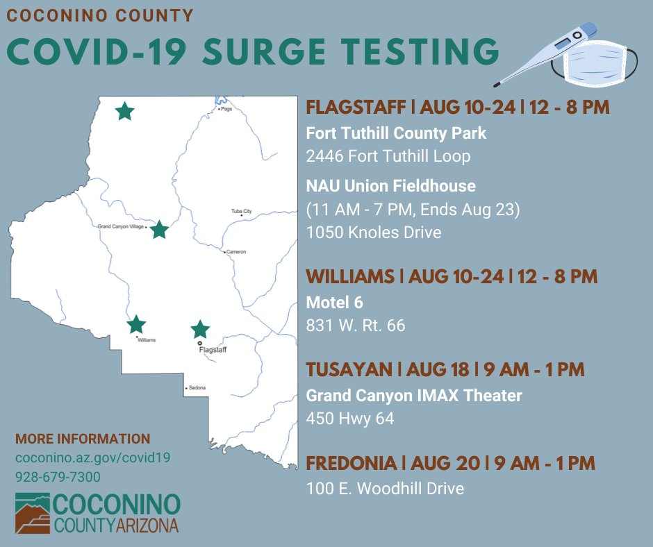 Coconino County is encouraging all residents and students to take advantage of the COVID-19 testing opportunities available, regardless of if they suspect they've been exposed.