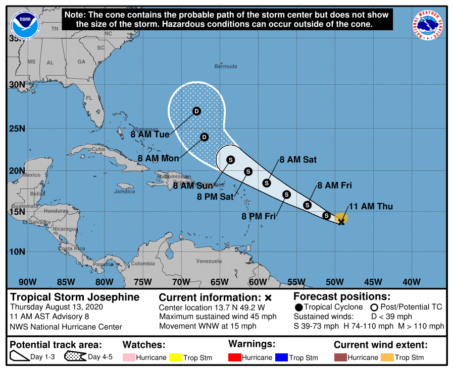 TD 11 has become Tropical Storm Josephine, setting a record for the earliest named 'J' storm in the Atlantic, beating out Jose from August 22, 2005.  It's not expected to impact our area but we'll monitor for changes & provide updates. Visit  for more.
