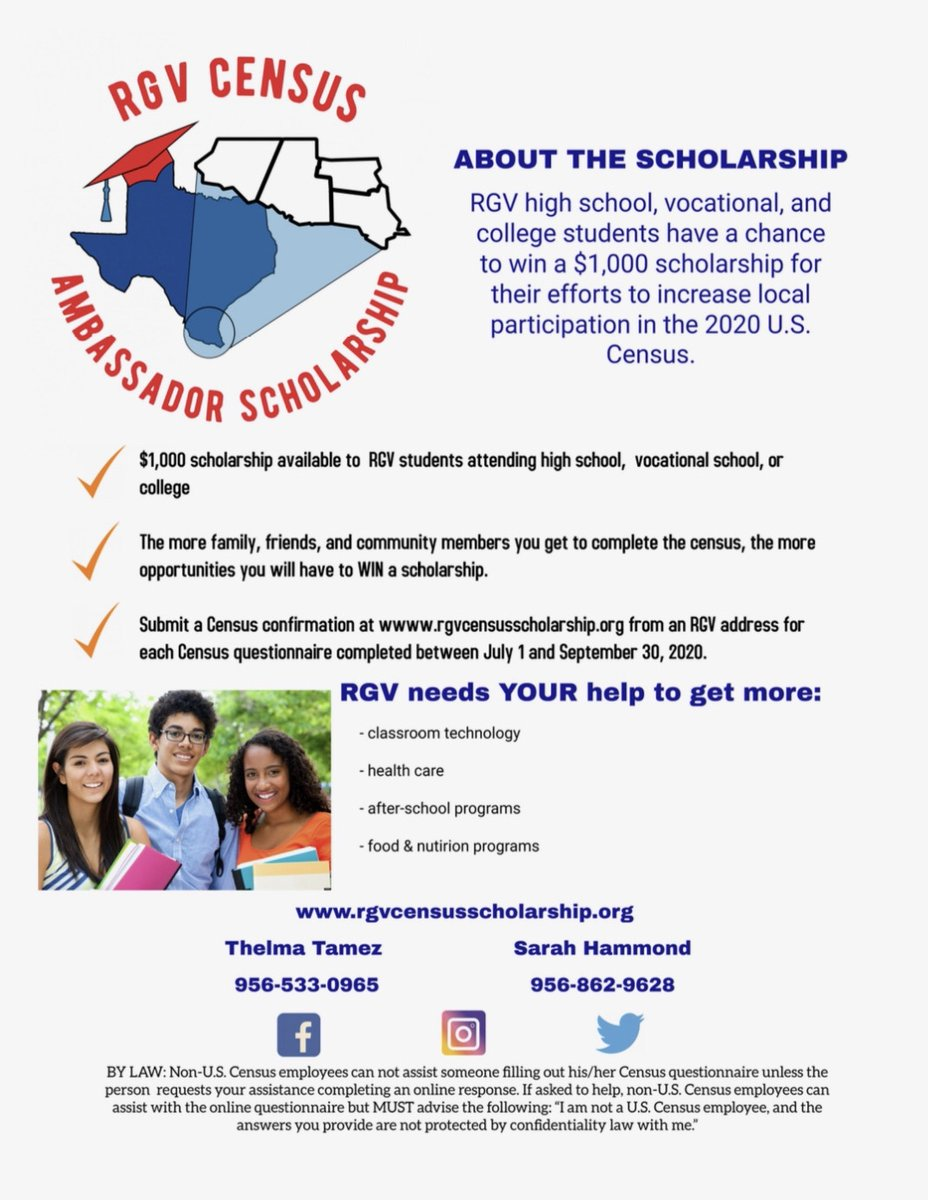📢RGV high school, vocational, and college students have a chance to win a $1,000 scholarship for their efforts to increase local participation in the 2020 Census❗️  Submit a Census confirmation at:   #2020Census #RGVCensusAmbassadorScholarship 🏫🧑🎓