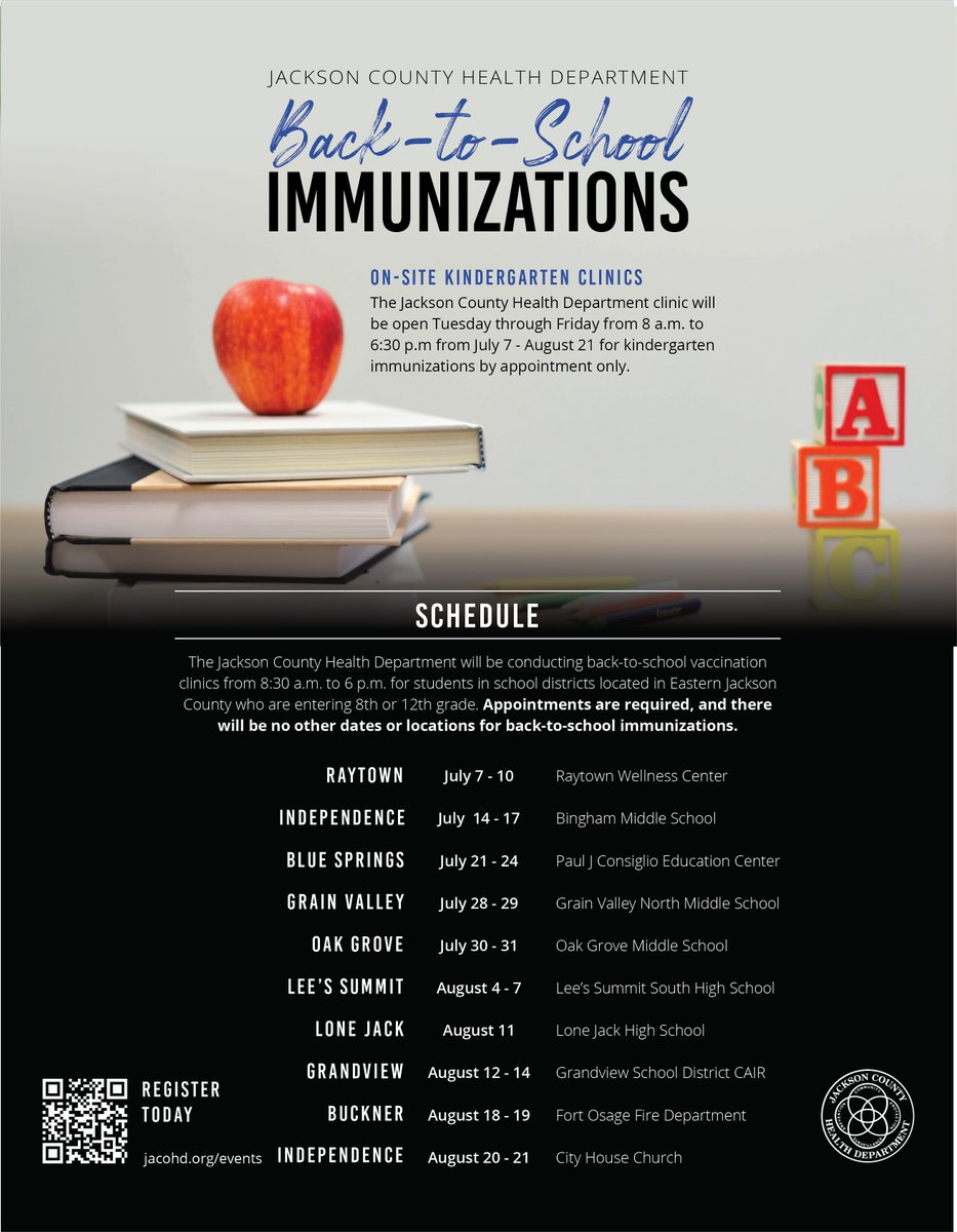 @JacksonCountyHD is taking last minute appointments today & tomorrow at their Grandview offsite immunization clinic & will take walk ins until 530 pm.  The clinic is only for 8-12th graders.  It is located at the @GrandviewCSD4  CAIR building- 1001 Main St. Grandview MO.