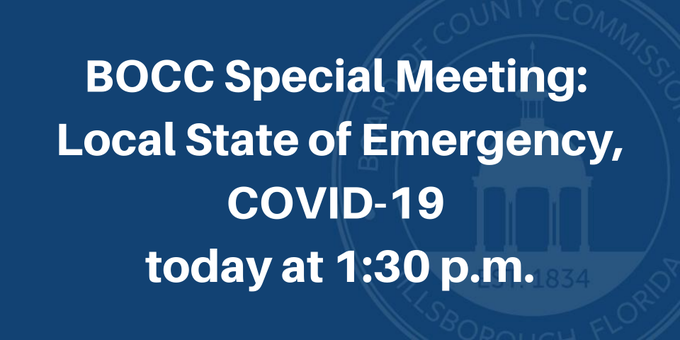 At 1:30 p.m. today, Thursday, August 13, there will be a BOCC special meeting to discuss actions related to COVID-19 coronavirus. The meeting may be viewed live on:  •   •   • Cable Television: Spectrum: 637 Frontier: 22