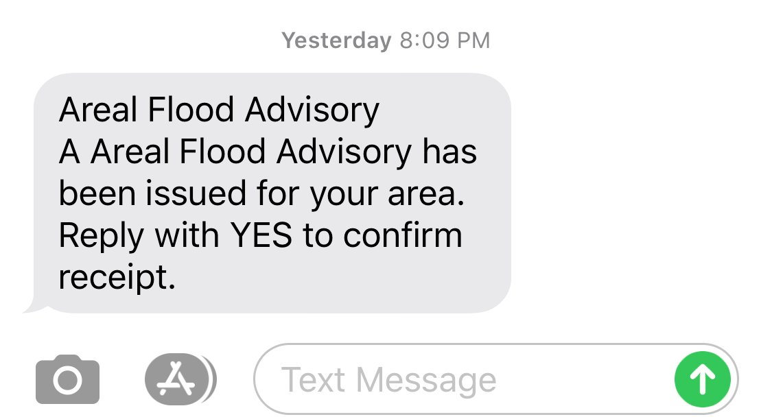 Did you get this JCC Alert message last night? Did you think we made a typo? Not this time! Areal Flood is flooding that develops more gradually, usually from prolonged and persistent moderate to heavy rainfall.