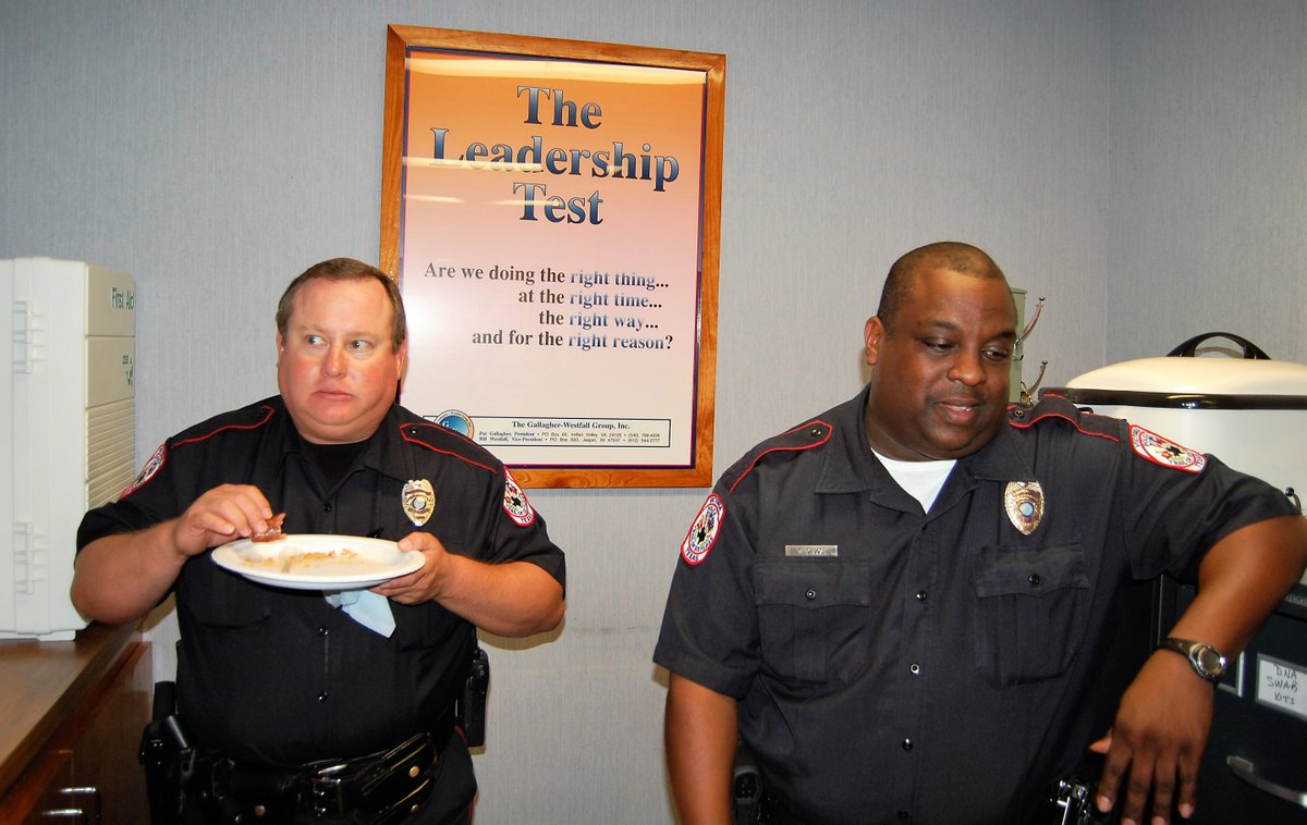 *THROWBACK THURSDAY* I'm wondering what Officer Korenek was startled by that Officer Diggs apparently hadn't noticed yet? These two guys were great officers with the Victoria Police Department. Officer Korenek served with VPD from 1991 to 2012 and Officer Diggs from 1990 to 2011.