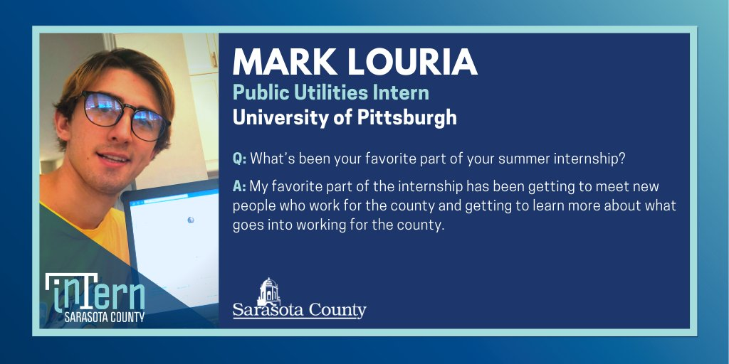 🚰 Mark Louria | #SRQCounty Public Utilities #Intern | University of Pittsburgh 🚰  Q: If you could have any superpower what would it be? A: I would like to be able to fly because I like to travel.