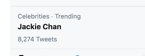 Twitter feature request; when someone like Jackie Chan or Betty White is trending how bout a big red disclaimer under their name that says HE'S TOTALLY FINE or SHE'S NOT DEAD because the time between seeing the trend and figuring out what its for is just too stressful for 2020