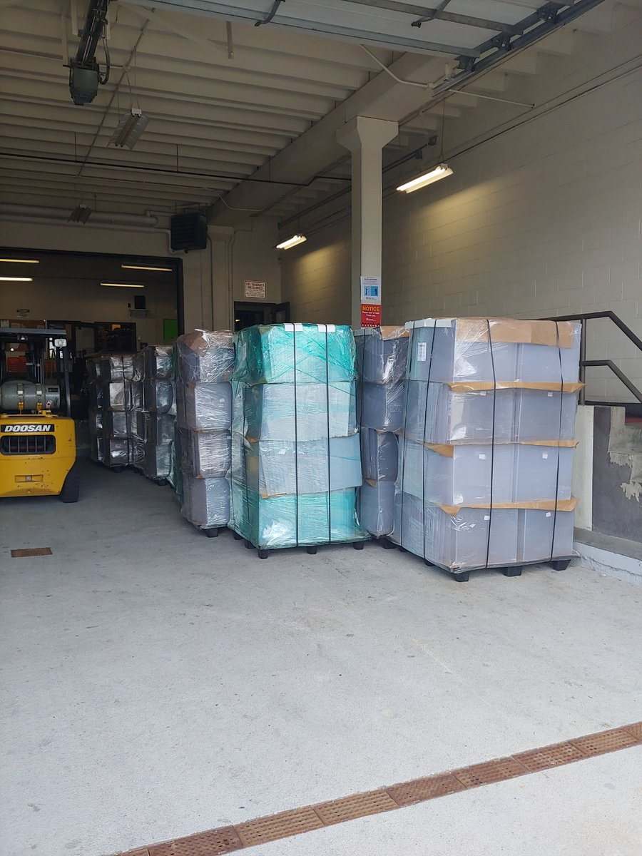 Students may be working from home for the first nine weeks of school, but our Operations Team remains hard at work getting our facilities ready for when they return! The Service Center just received plexiglass desk shields, water bottles, reception desk screens, and dividers.