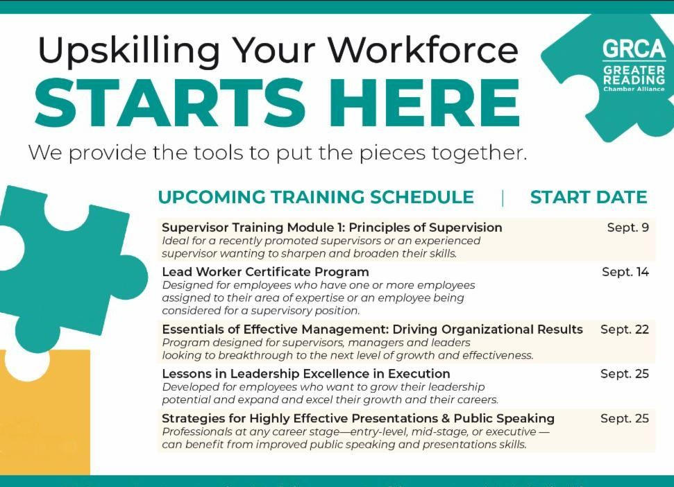 Upskilling your workforce starts here. We provide the tools to put the pieces together.  Our Fall 2020 Training Programs begin in Sept. You have the option of attending each training program in person or virtually.  Learn more & register ➡️