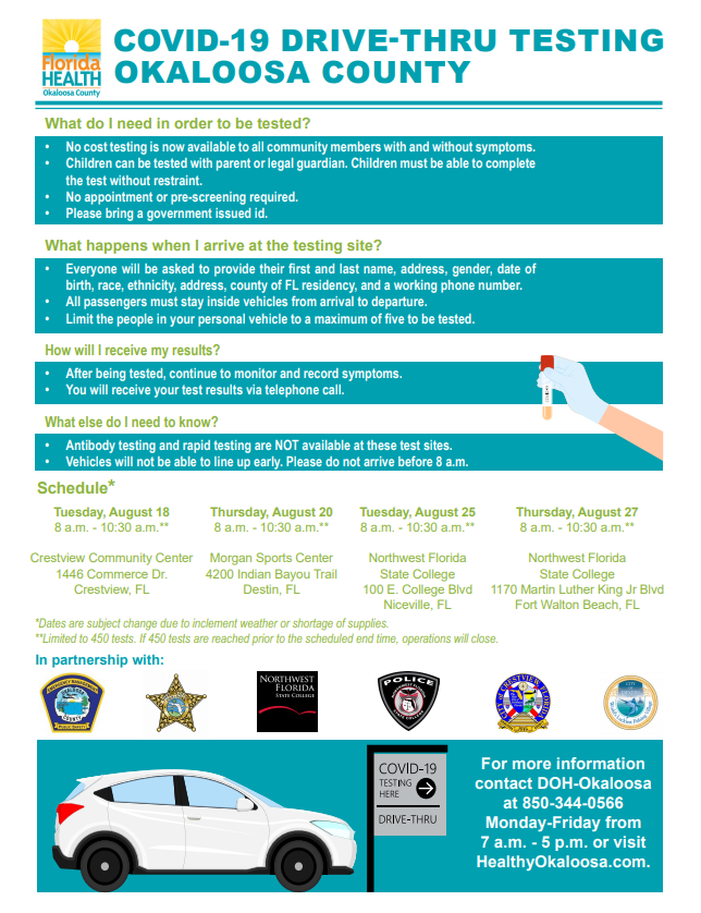 @FLHealthEmerald has released the next set of drive-thru COVID-19 🦠 testing events, in partnership with Okaloosa County EMS.  or call 850-344-0566 for more info.  #okaloosa #CovidTesting #okaloosacares