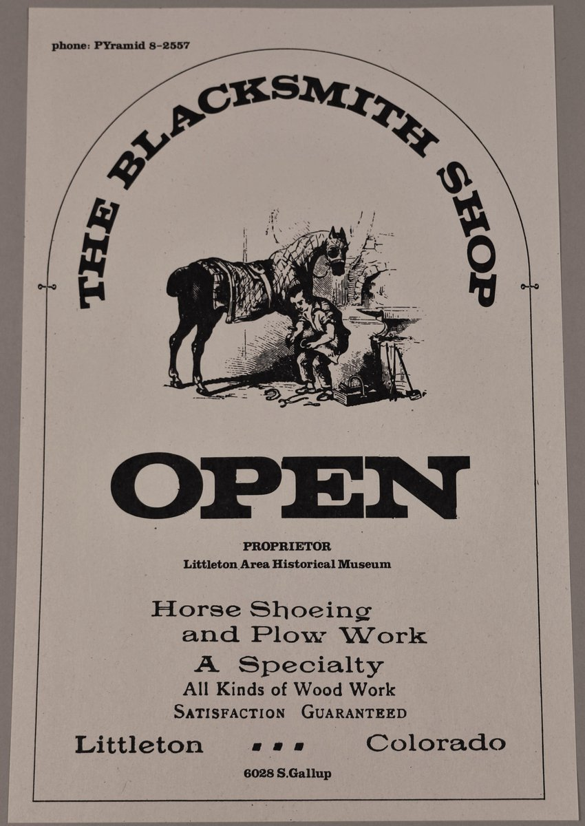 "Happy 50th anniversary to the Littleton Museum! This week's #tbt features a poster from the museum (c.1975), advertising ""The Blacksmith Shop"" on the museum grounds.  #LittletonMuseum #LittletonMuseum50th"