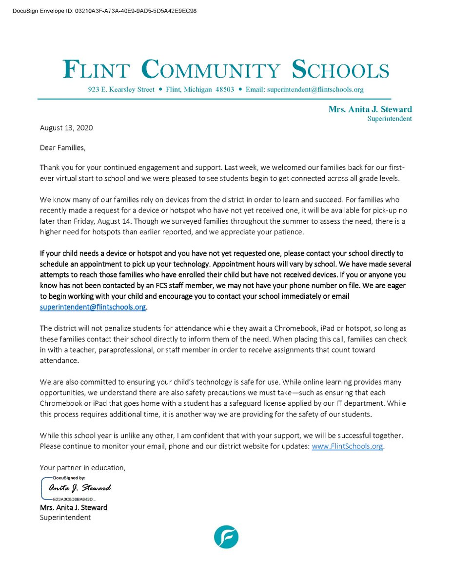 We are committed to a high-quality learning experience for all students. Take a look at the letter below from Superintendent Steward on updates for all devices and hotspots.