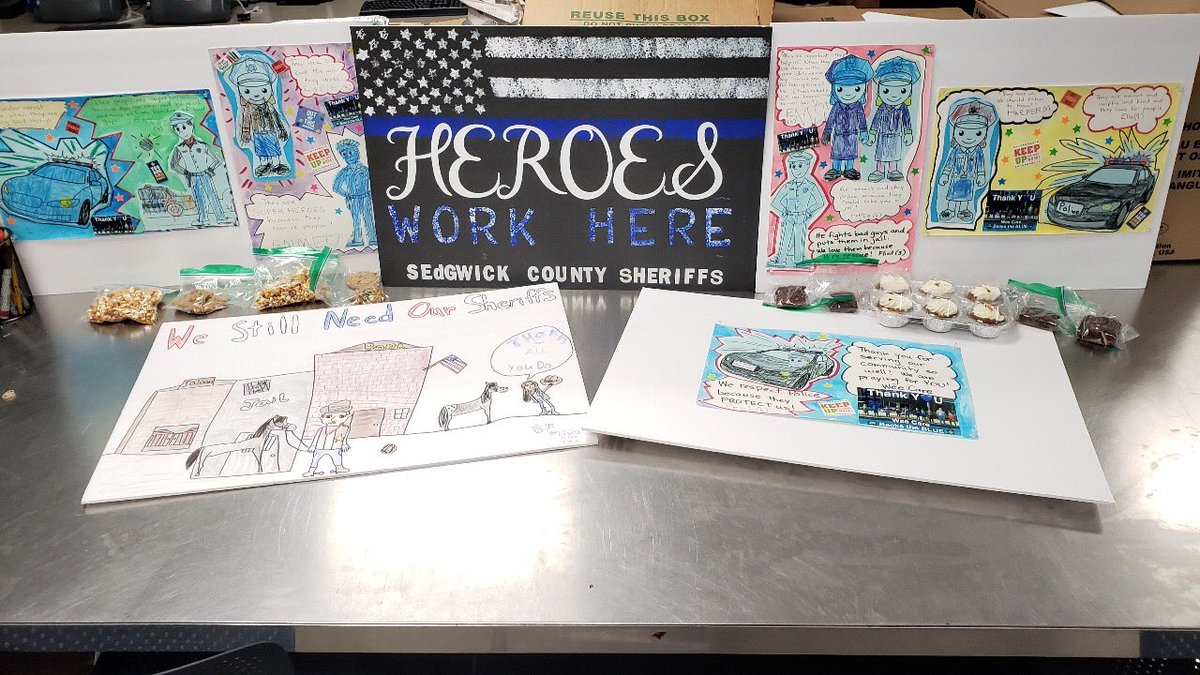 A special thank you to the ladies from a daycare who dropped these signs/cards off that were made to show support to our heroes who work here!