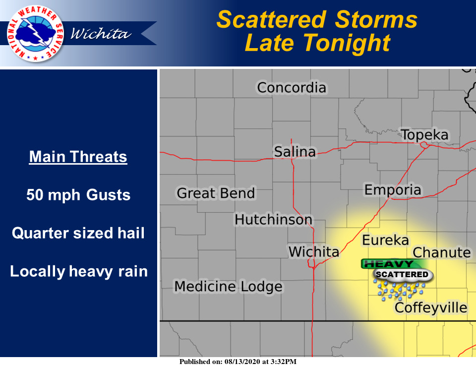 Scattered storms may develop late tonight across parts of southeast KS. A few strong or severe storms may be possible. #kswx