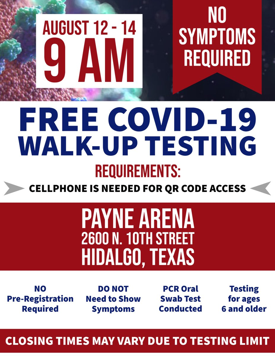 📢FRI, Aug. 14 is the last day to get tested here!🆓 COVID-19 TESTING in Hidalgo ⏰9 am until supplies run out NEW REQUIREMENT: 📲MUST HAVE Cell Phone for QR Access N🚫 Symptoms needed to test N🚫 Pre-registration required PCR Oral Swab Test Conducted Testing for ages 6 and older
