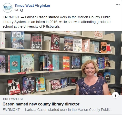 Thanks for the news coverage, Times West Virginian! Please join us in welcoming our new library director, Larissa Cason!!    If you can't read the link above, try this one (you may have to log in with your library card number):