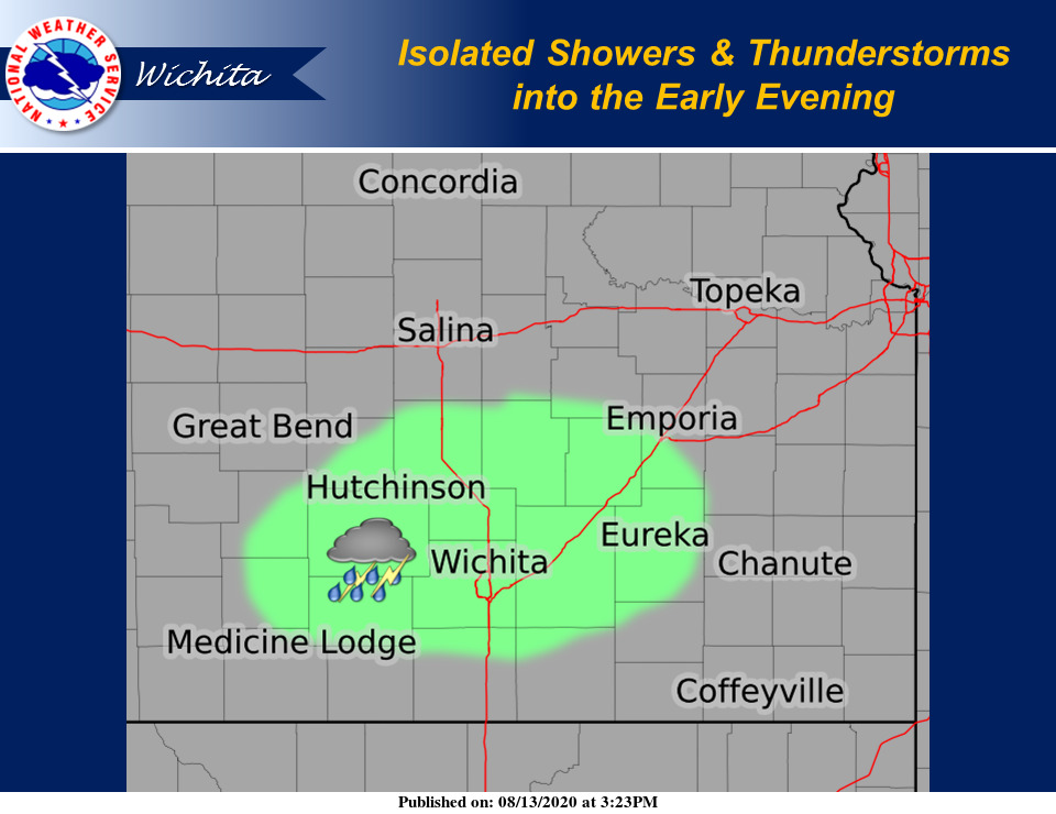 Isolated showers & storms have developed this afternoon in SC KS and may continue into early evening. Hazards: Heavy rain & lightning #kswx