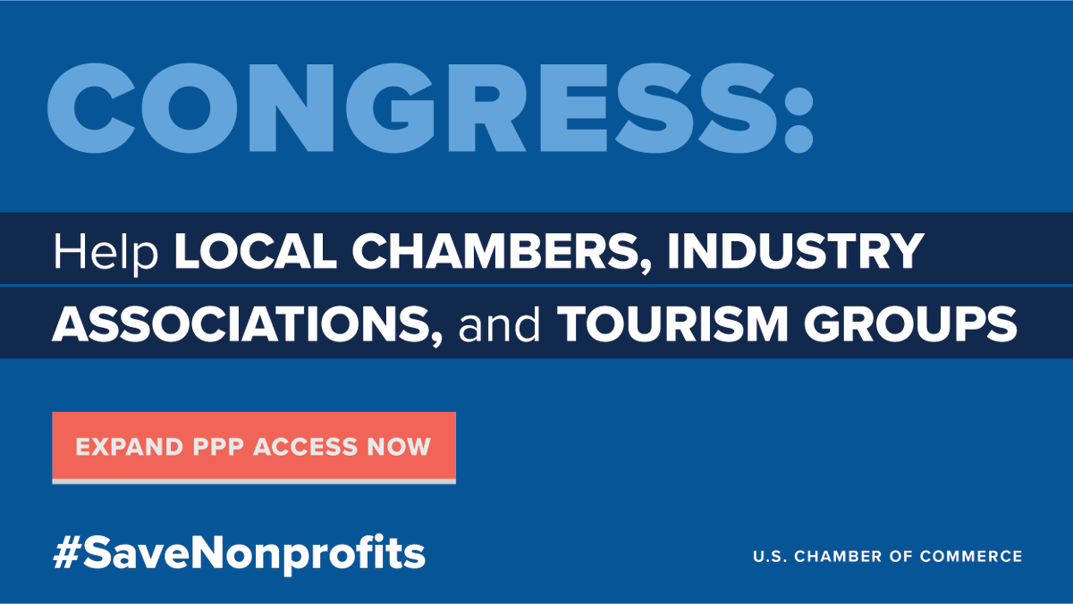 State and local chambers of commerce, industry associations, and tourism groups provide vital support to local businesses trying to recover. Congress, provide #PPP access to #C6 groups #SaveNonprofits