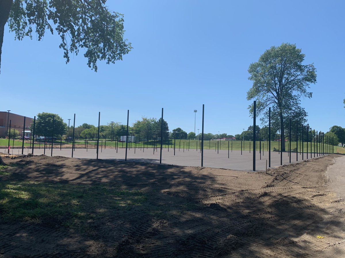 Pickle ball update! 🎾🎾🎾 The base layer of asphalt and fence posts are in and the sidewalks have been formed. The courts will now need the top layer of asphalt applied and then will need to sit about a month before color and lines are applied.