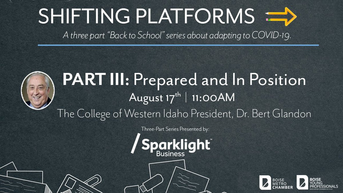 Join us on Monday at 11:00am for Part III of our series and hear from @cwidaho President, Dr. Bert Glandon!  Register now for an in depth discussion on how CWI is adapting during the pandemic to ensure student success! 🔗