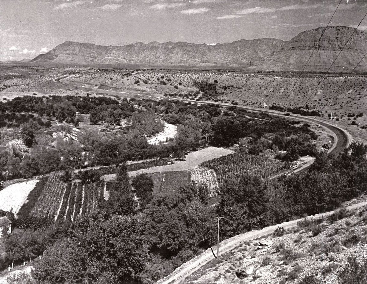 """Check out this #TBT of U.S. 91 in Washington County – """"The California Road."""" This was the old route to Nevada before I-15 passed through the Virgin River Gorge. This photo was taken near present-day Truman Drive in Santa Clara; you can check it out in Street View on Google Maps."""