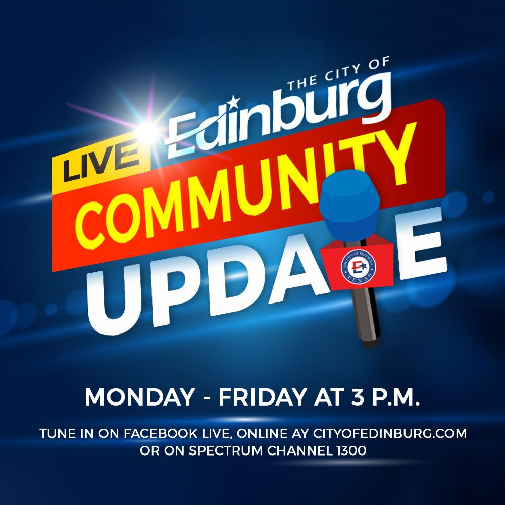 Join us LIVE at 3 p.m. on Facebook, Spectrum channel 1300 or  for a community update.