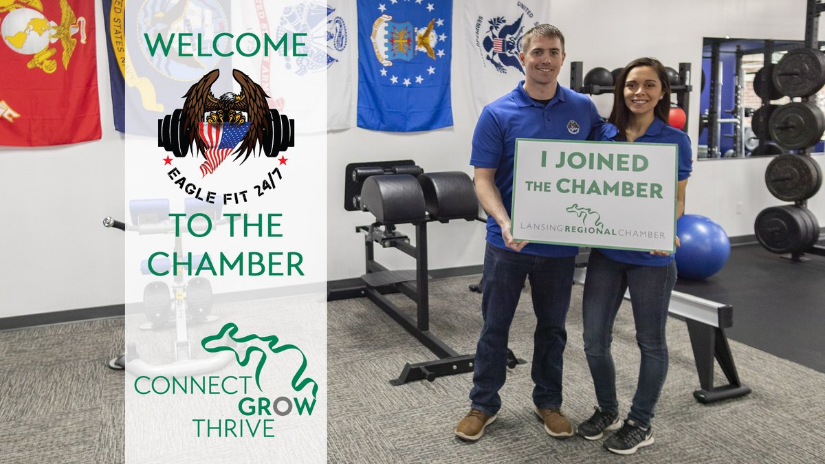 Welcome to the Lansing Regional Chamber, Eagle Fit - Okemos! 🏋️♀️ Our team is excited to help you #ConnectGrowThrive!  For more info about Eagle Fit 24/7, visit:    (**This photo was taken before mandated social distancing & face mask requirements.)