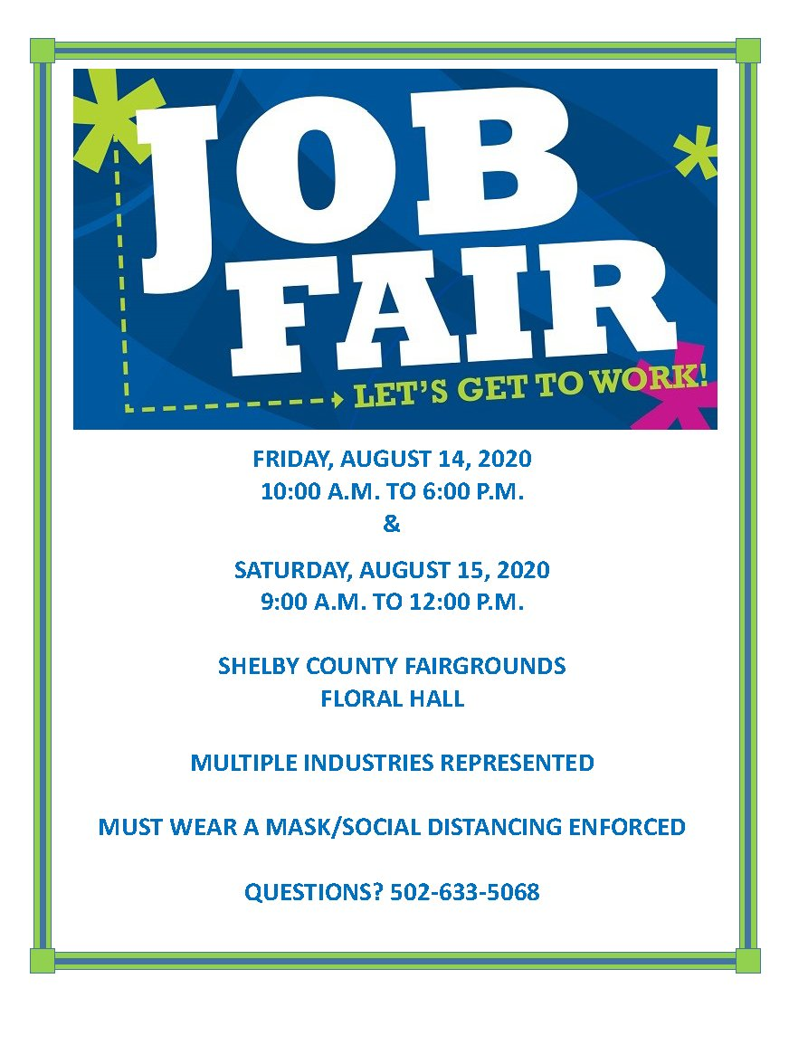 The Shelby County Industrial and Development Foundation is hosting a job fair on August 14 and 15 at the Shelby County Fairgrounds! Multiple industries will be represented. Questions? Call (502) 633-5068. #job #jobfair #nowhiring #hiring #shelbycounty #shlebyco