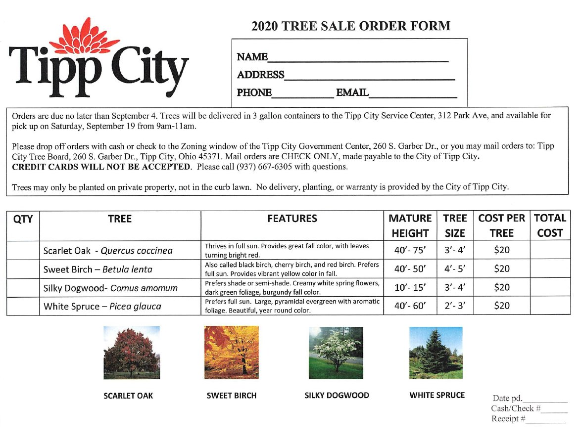 It's BACK!!  The annual tree sale is finally here!  This year we have four great options for you to choose from and at a cheaper price.  Each tree is only $20.  Orders are due by September 4th.  Please see the order sheet for all necessary information.