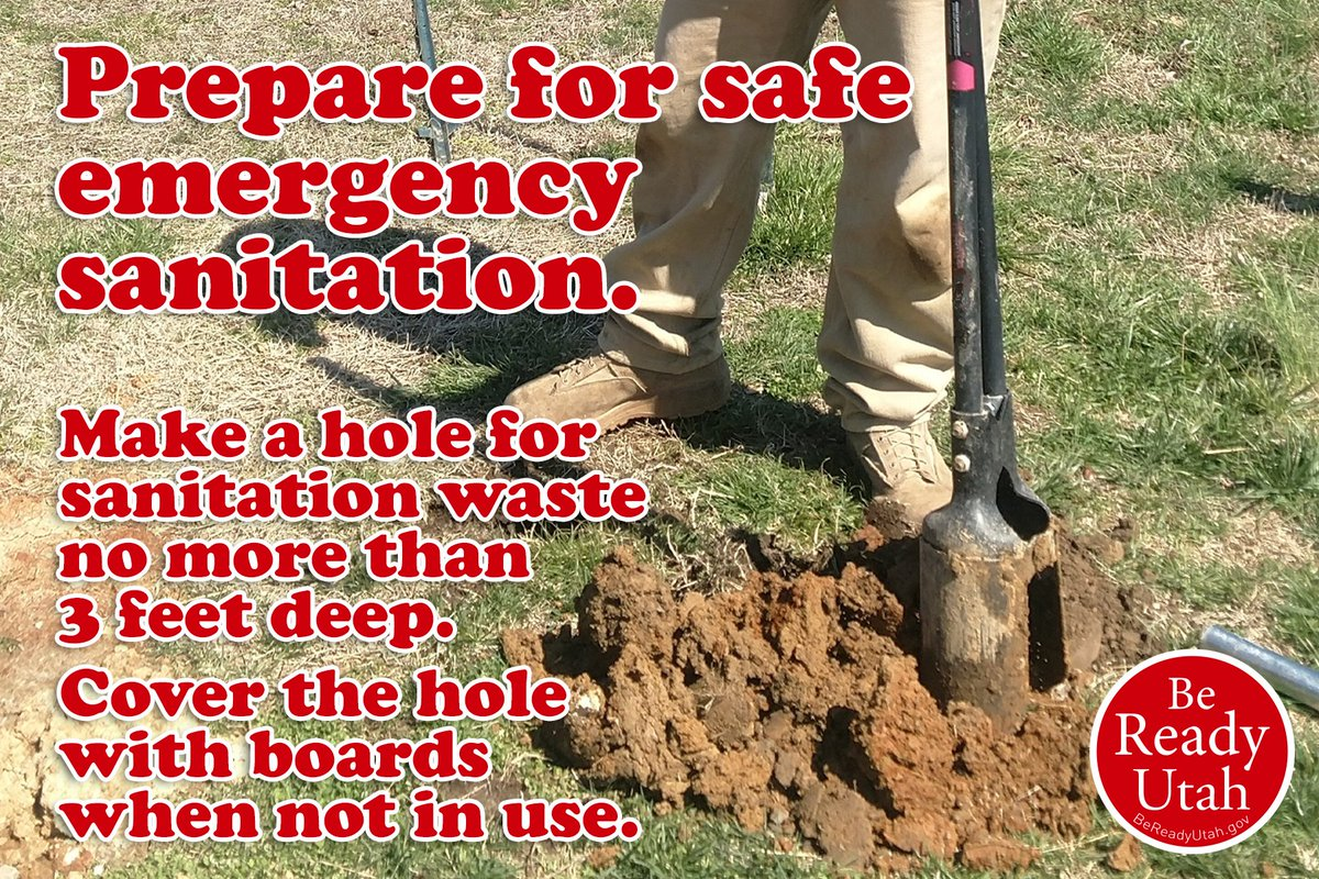 #Prepare for safe emergency sanitation: Use a slit trench or hole for sanitation. Make it no more than 3 feet deep. Cover the hole with boards to prevent pest infestation. Learn proper sanitation with this information from Be Ready #Utah: