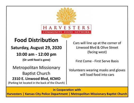 Mark your calendars! In cooperation with @HarvestersORG and Metropolitan Missionary Baptist Church, we're doing a free food distribution on Aug. 29. We'll also be handing out hand sanitizer while supplies last.