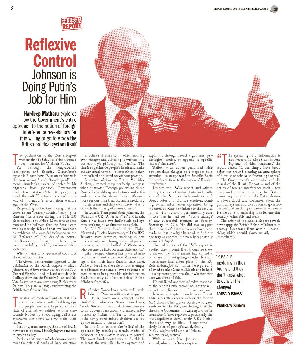 So we did it. Despite the heat. The Seventeenth Edition of @BylineTimes has been printed. (You can still get the digital edition if you subscribe now  Here some sample pages of our #RussiaReport