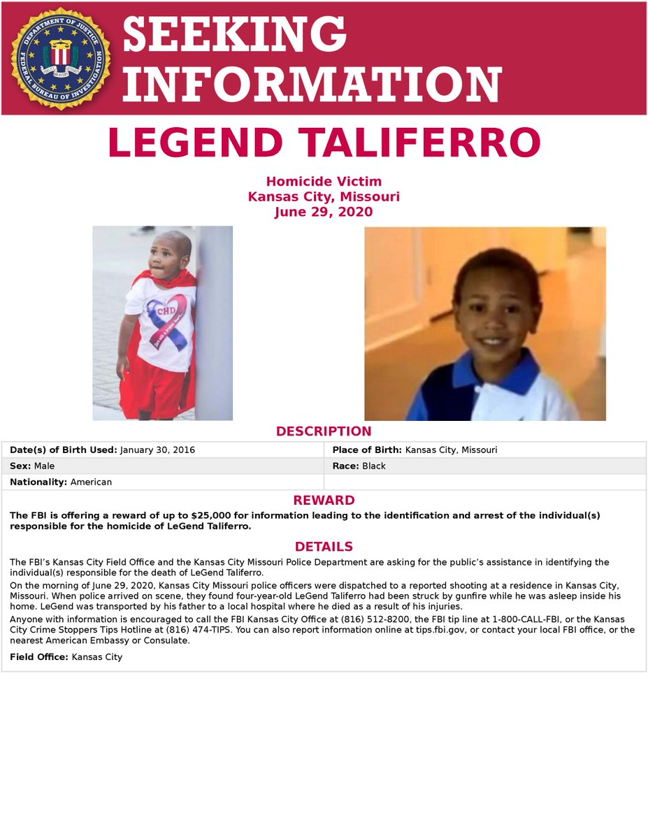 This is LeGend Taliferro. He was shot while asleep in his home. Operation Legend, named after Taliferro, was created to provide federal resources to major cities to help reduce violent crime. Help stop the violence. Submit tips at .