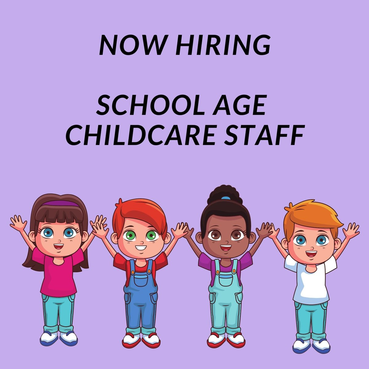 The City of Fairfax is now hiring school age childcare center staff. See job posting for details!