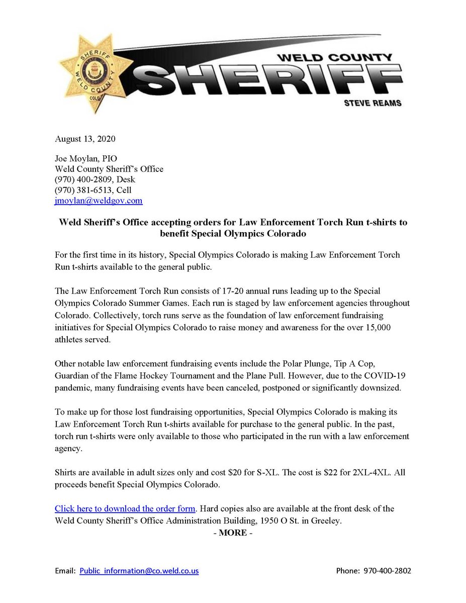 The Weld County Sheriff's Office is accepting orders for Special Olympics Colorado Law Enforcement Torch Run t-shirts to help offset missed fundraising opportunities due to COVID-19. Additional details, flyer and order form are attached.