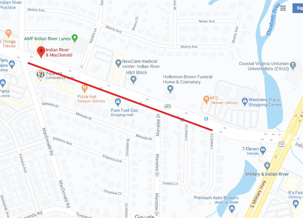 Utility Work to Affect Indian River Rd. starting at 7 a.m. on Sat., 8/15, maintenance to the public sanitary sewer system will result in the closure of a portion of IRR. The outside lane of eastbound Indian River Rd btw Macdonald Rd & Leland Circle will be closed. (757) 353-8485.