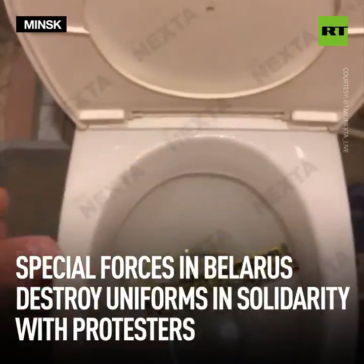 There's a new trend on the fourth day of protests in Belarus: former Spetsnaz (special forces) and military officers are filming themselves burning and throwing away their uniforms and insignia, then posting the footage online.