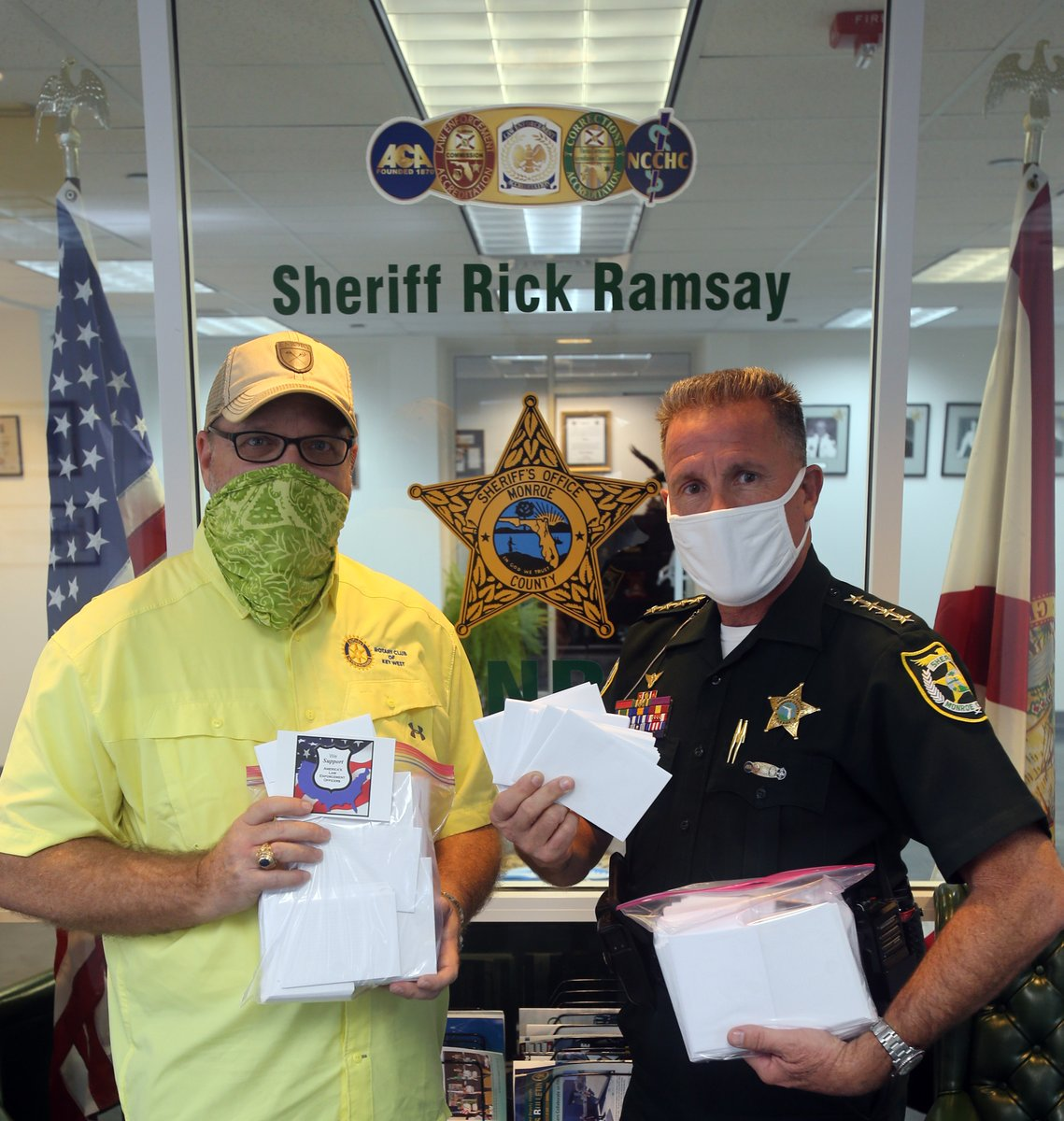 The Rotary Club of Key West President Jim Olive presented Monroe County Sheriff Rick Ramsay with thank you notes on Thursday signed by every Rotary member to be distributed to every Law Enforcement Officer employed by the Sheriff's Office.