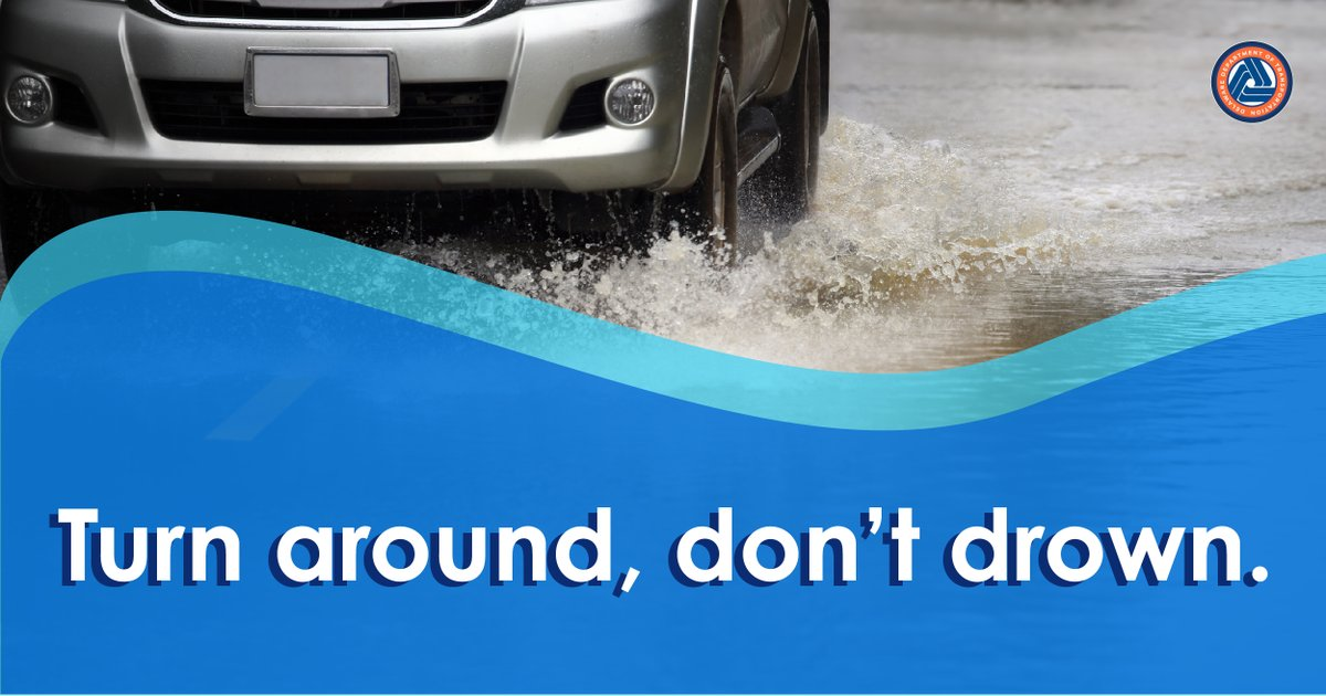 When water rushes over a street it can hide dips, debris and roads that have been washed away entirely. It's not the road you know no matter how many times you've driven it. It's dangerous to drive through standing water, so it's best to turn around, don't drown. 💦🚙