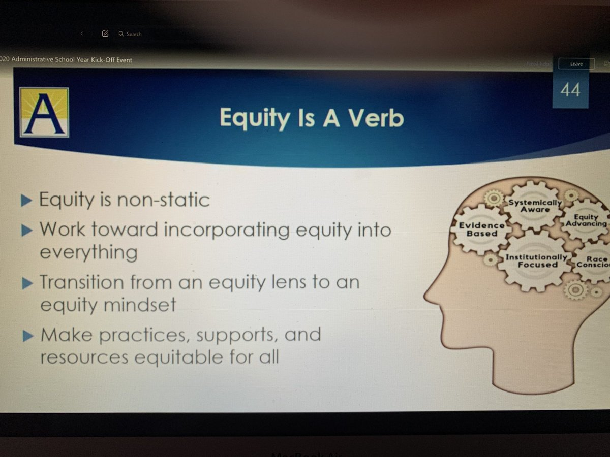RT @SamKlein_ESOL: Let's transition to an equity mindset, not just an equity lens. #APSac2020 Thank you @SuptDuran